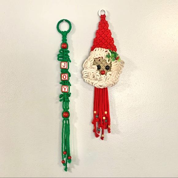 Vintage Christmas Macrame Wall Hangings